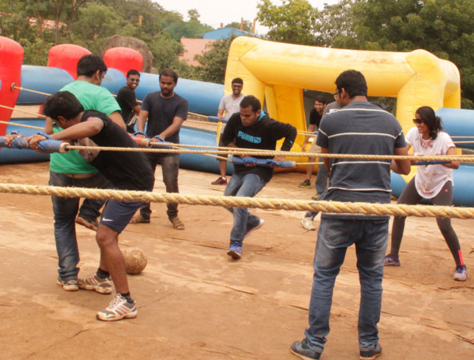 human foosball game at ramoji film city